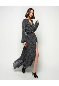 Pinko - PINKO - Czarna sukienka maxi z falbaną Umile. Kolor: czarny. Materiał: tkanina. Wzór: kropki, aplikacja. Długość: maxi