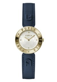 Furla - FURLA - Zegarek WW00004003L2. Kolor: niebieski. Materiał: skóra, materiał