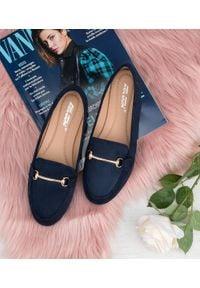 Niebieskie mokasyny ABLOOM eleganckie, w kolorowe wzory