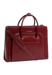 Czerwona torebka MCKLEIN w kolorowe wzory, do ręki, elegancka