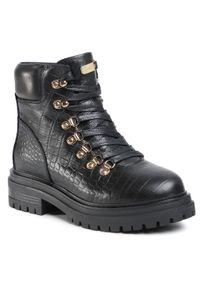 Czarne buty trekkingowe MEXX klasyczne, z cholewką, z aplikacjami