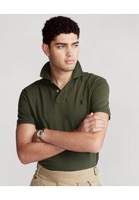 Ralph Lauren - RALPH LAUREN - Koszulka polo Custom Fit. Okazja: na co dzień. Typ kołnierza: polo. Kolor: zielony. Materiał: jeans, bawełna, prążkowany. Długość: długie. Wzór: haft. Styl: casual, klasyczny
