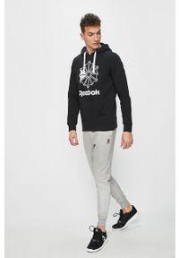 Czarna bluza nierozpinana Reebok Classic z nadrukiem, z kapturem, casualowa