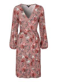 Różowa sukienka Happy Holly kopertowa, z długim rękawem, w kwiaty