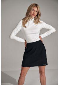 Figl - Trapezowa Mini Spódnica- czarna. Kolor: czarny. Materiał: poliester