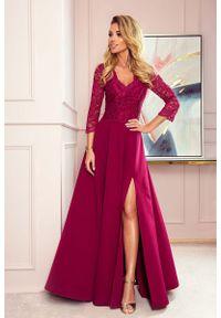 Czerwona sukienka wieczorowa Numoco w koronkowe wzory, maxi