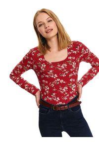 Czerwony t-shirt TOP SECRET na jesień, długi, na co dzień, z długim rękawem