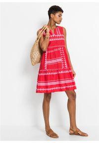 Sukienka z falban bonprix czerwono-różowy w paski. Kolor: czerwony. Wzór: paski. Długość: midi