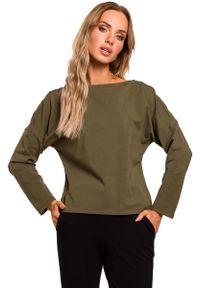 MOE - Khaki Bazowa Bluzka Oversize z Dekoltem na Plecach. Kolor: brązowy. Materiał: bawełna, elastan