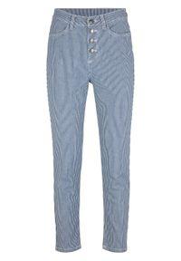 Niebieskie jeansy bonprix w paski
