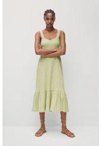 mango - Mango - Sukienka SONIA. Kolor: zielony. Materiał: włókno, tkanina. Długość rękawa: na ramiączkach. Typ sukienki: rozkloszowane