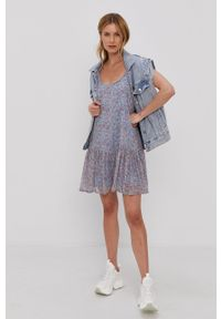 Jacqueline de Yong - Sukienka. Kolor: niebieski. Materiał: tkanina, poliester. Długość rękawa: na ramiączkach. Typ sukienki: rozkloszowane