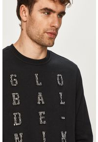 Czarna bluza nierozpinana Blend na co dzień, z okrągłym kołnierzem, z aplikacjami, casualowa