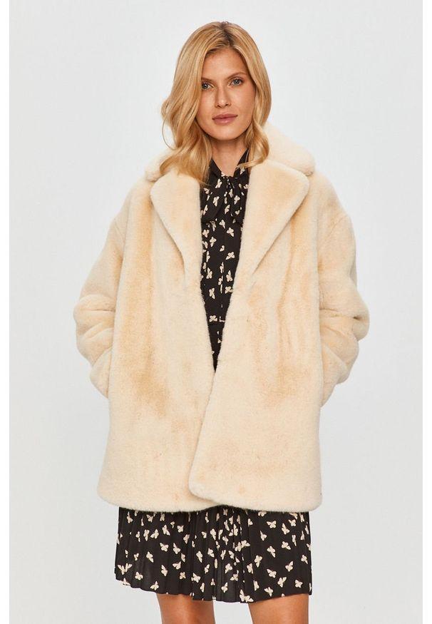 Kremowy płaszcz TwinSet na co dzień, bez kaptura, klasyczny