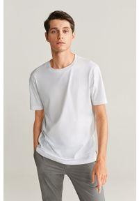 Biały t-shirt Mango Man z okrągłym kołnierzem