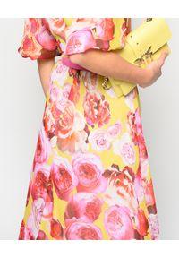 Pinko - PINKO - Sukienka w kwiaty. Kolor: różowy, fioletowy, wielokolorowy. Wzór: kwiaty. Sezon: lato. Długość: maxi