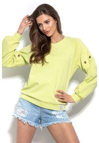 Fobya - Limonkowa Wygodna Bluza z Metalowymi Kółkami. Materiał: bawełna, elastan