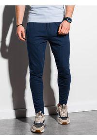 Ombre Clothing - Spodnie męskie dresowe joggery P952 - granatowe - XXL. Kolor: niebieski. Materiał: dresówka