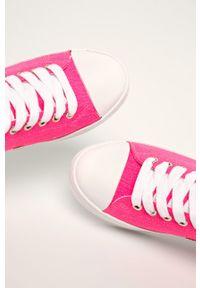 Różowe tenisówki Guess Jeans na obcasie, z okrągłym noskiem, z cholewką #5