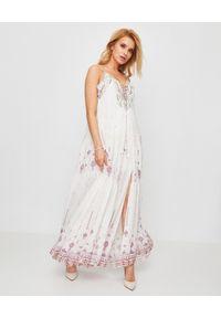 Biała sukienka Camilla ze sznurowanym dekoltem, na ramiączkach, na lato, maxi