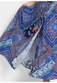 Spódnica kopertowa bonprix niebiesko-brązowy wzorzysty. Kolor: niebieski. Długość: długie #2