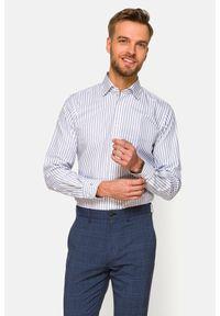 Lancerto - Koszula w Szaro-Granatowy Prążek Scarlett. Kolor: szary. Materiał: bawełna, jeans, len, wełna, tkanina. Wzór: prążki. Sezon: lato