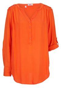Pomarańczowa tunika bonprix z dekoltem w serek, długa