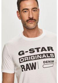 G-Star RAW - G-Star Raw - T-shirt. Okazja: na co dzień. Kolor: biały. Materiał: dzianina. Wzór: nadruk. Styl: casual
