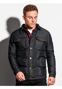 Czarna kurtka Ombre Clothing ze stójką, elegancka, z aplikacjami