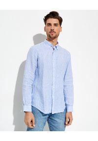 Ralph Lauren - RALPH LAUREN - Niebieska koszula w prążki Slim Fit. Typ kołnierza: polo. Kolor: niebieski. Materiał: bawełna. Długość rękawa: długi rękaw. Długość: długie. Wzór: prążki