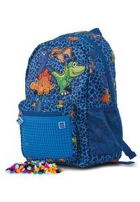 Pixie Crew Plecak dziecięcy z motywem dinozaurów, z pikselami. Kolor: niebieski