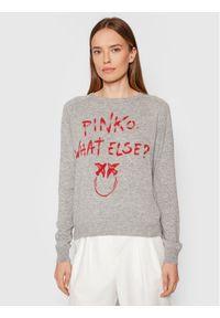 Pinko Sweter Scuderia 1G16WZ Y7GZ Szary Regular Fit. Kolor: szary