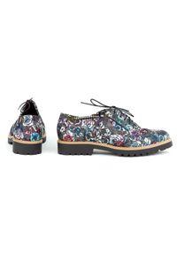 Czarne półbuty Zapato klasyczne, w kwiaty, wąskie, na sznurówki