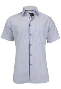 Jurel - Bawełniana Koszula z Krótkim Rękawem, Prosty Krój, Drobna KRATKA, Niebieska. Okazja: do pracy, na spotkanie biznesowe. Kolor: niebieski. Materiał: bawełna. Długość rękawa: krótki rękaw. Długość: krótkie. Wzór: kratka. Styl: wizytowy, biznesowy, elegancki