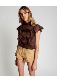 ONETEASPOON - Brązowa bluzka Metal Adventure. Kolor: brązowy. Materiał: koronka, bawełna. Wzór: koronka