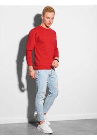 Ombre Clothing - Bluza męska bez kaptura B1153 - czerwona - XXL. Typ kołnierza: bez kaptura. Kolor: czerwony. Materiał: bawełna, jeans, poliester. Styl: klasyczny, elegancki