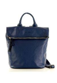 Plecak damski granatowy MARCO MAZZINI pl54d. Kolor: niebieski. Materiał: skóra. Wzór: paski. Styl: casual