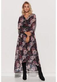Makadamia - Wzorzysta Sukienka Szyfonowa z Błyszczącą Taśmą - Wzór 12. Materiał: szyfon. Wzór: kwiaty