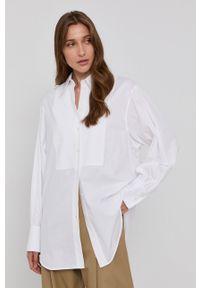 Victoria Victoria Beckham - Koszula bawełniana. Kolor: biały. Materiał: bawełna. Długość rękawa: długi rękaw. Długość: długie. Wzór: gładki