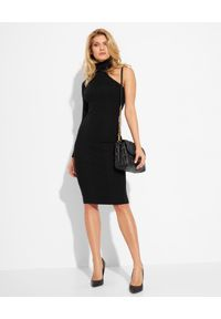 Elisabetta Franchi - ELISABETTA FRANCHI - Sukienka z golfem na jedno ramie. Typ kołnierza: golf. Kolor: czarny. Długość rękawa: długi rękaw. Typ sukienki: dopasowane. Długość: midi