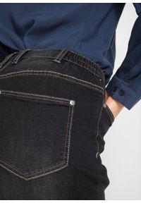 Dżinsy ze stretchem Boyfriend z wygodnym paskiem bonprix czarny denim. Kolor: czarny