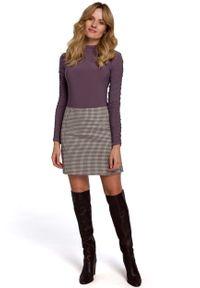 MOE - Krótka Spódnica w Kratkę - Brązowa. Kolor: brązowy. Materiał: poliester, wiskoza, elastan. Długość: krótkie. Wzór: kratka