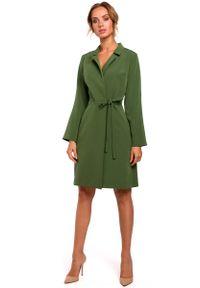 MOE - Zielona Sukienka Żakietowa z Rozszerzanymi Rękawami. Kolor: zielony. Materiał: poliester, elastan