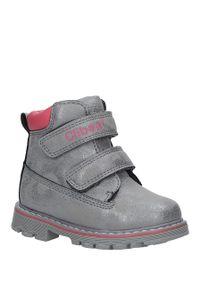 Srebrne buty zimowe Casu na rzepy