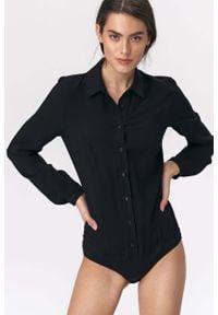 Nife - Czarne Stylowe Koszulowe Body. Kolor: czarny. Materiał: wiskoza. Styl: elegancki