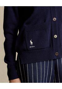 Ralph Lauren - RALPH LAUREN - Granatowy kardigan. Typ kołnierza: polo. Kolor: niebieski. Materiał: bawełna. Długość rękawa: długi rękaw. Długość: długie. Wzór: napisy. Styl: klasyczny