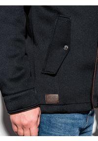 Ombre Clothing - Płaszcz męski z kapturem C200 - czarny - XL. Typ kołnierza: kaptur. Kolor: czarny. Materiał: dzianina, poliester #6