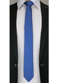 Stylowy Krawat Męski w Drobny Biały Wzór - 6 cm - Alties, Niebieski. Kolor: niebieski. Materiał: tkanina. Styl: elegancki