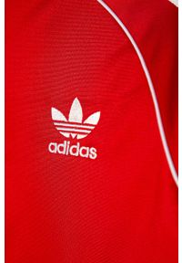 Czerwona bluza rozpinana adidas Originals na co dzień, bez kaptura
