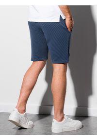 Ombre Clothing - Krótkie spodenki męskie dresowe W294 - ciemnoniebieskie - XXL. Kolor: niebieski. Materiał: dresówka. Długość: krótkie. Styl: sportowy, klasyczny